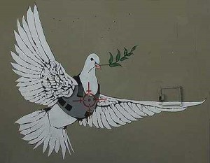 Banksy-Armored Peace Dove